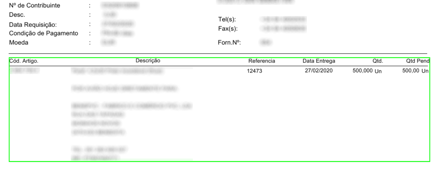 A borderless table in an example invoice